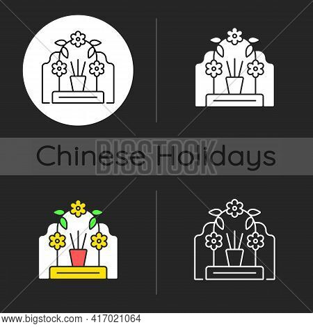 Tomb Sweeping Day Dark Theme Icon. Qingming Festival. Chinese Memorial Day. Pomegranate And Willow B