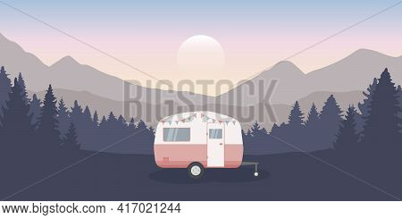 Wanderlust Camping Adventure In The Wilderness With Camper