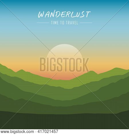 Wanderlust Green Mountain Landscape With Copy Space