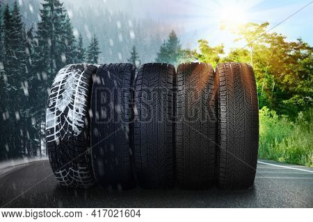 Set Of New Winter And Summer Tires On Asphalt Road, Collage