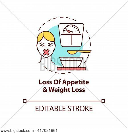 Appetite And Weight Loss Concept Icon. Liver Disease Symptom Idea Thin Line Illustration. Malnutriti