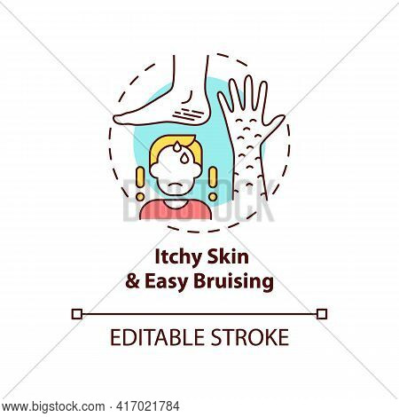 Itchy Skin And Easy Bruising Concept Icon. Liver Disease Sign Idea Thin Line Illustration. Bile Salt
