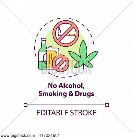 No Alcohol, Smoking And Drugs Concept Icon. Liver Health Requirement Idea Thin Line Illustration. Cl