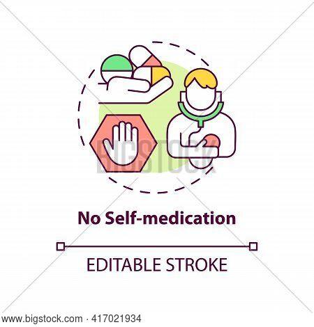 No Self-medication Concept Icon. Liver Health Requirement Idea Thin Line Illustration. Rational Anti