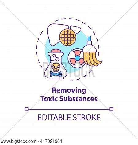 Removing Toxic Substances Concept Icon. Liver Function Idea Thin Line Illustration. Waste Products A