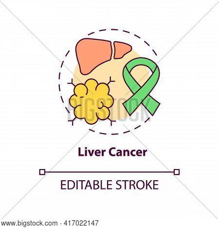 Liver Cancer Concept Icon. Liver Failure Outcome Idea Thin Line Illustration. Hepatocellular Carcino