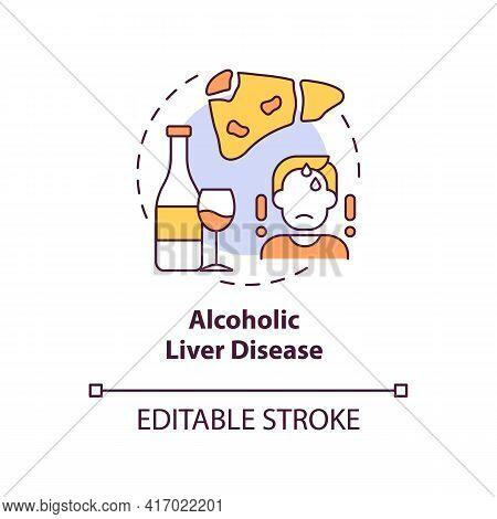 Alcoholic Liver Disease Concept Icon. Hepatitis Disease Idea Thin Line Illustration. Excessive Alcoh