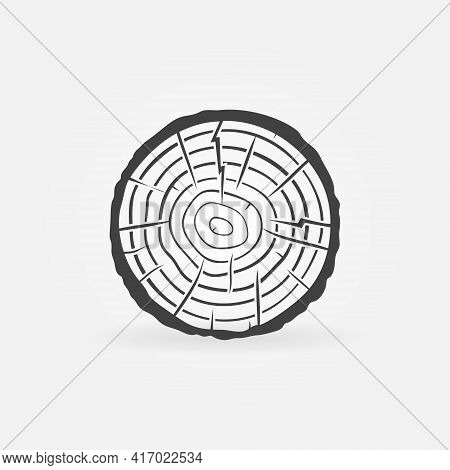 Tree Trunk Cross Section With Rings Vector Concept Icon