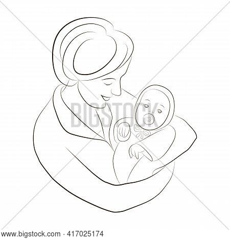 Silhouette Of Mother And Baby. Happy Mommy Holds Her Baby In Her Arms. Woman Bowed Her Head Over Chi