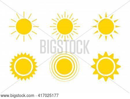 Yellow Sun Icon Set, Sunshine And Solar Glow. Decorative Circle Sun And Sunlight. Hot Solar Energy F