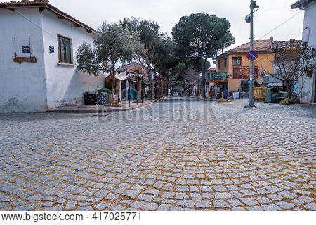 Birgi, Izmir, Turkey - 03.09.2021: Birgi Village Centre And Square With Cobblestones And Local Marke