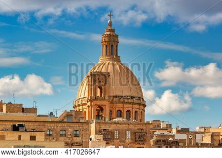 Beautiful architecture of the Valletta city, capital of Malta