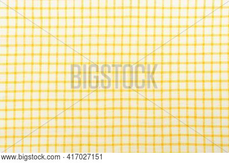 Kitchen Cotton Tablecloth Or Napkin With A Pattern Of Yellow Squares On A White Background.