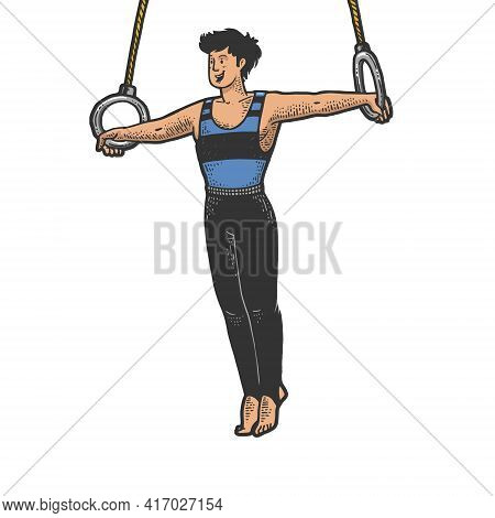 Gymnast Performing Iron Cross On Steady Rings Color Sketch Engraving Vector Illustration. T-shirt Ap