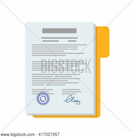 Paper Documents Of The Contract. Flat Vector Illustration. Icon