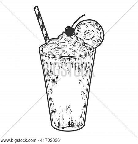 Milkshake. Sketch Scratch Board Imitation. Black And White.