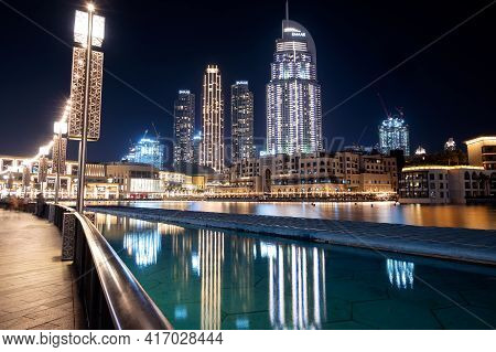 14th Dec 2020,dubai,uae . Beautiful View Of The Illuminated Souk Al Bahar ,the Dubai Mall, The Addre