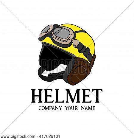 Helmet And Geek Icon Logo Vector. Helmet Illustration Vector