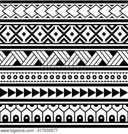 Polynesian Ethnic Maori Geometric Seamless Vector Pattern, Cool Hawaiian Tribal Fabric Print Or Text