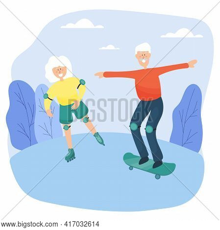 Elderly Couple. Grandma On Roller Skates And Grandfather On Skateboard Spend Time Together In The Pa