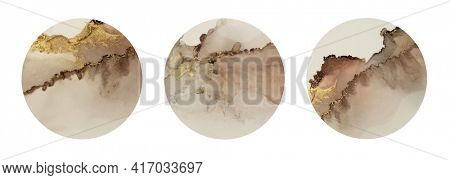 Art Abstract  watercolor flow circle blot painting. Color brown and gold marble horozontal texture background. Alcohol ink. Collection.
