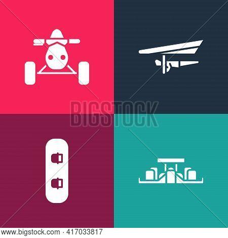 Set Pop Art Formula 1 Racing Car, Snowboard, Hang Glider And Atv Motorcycle Icon. Vector