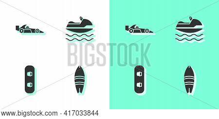 Set Surfboard, Formula 1 Racing Car, Snowboard And Jet Ski Icon. Vector