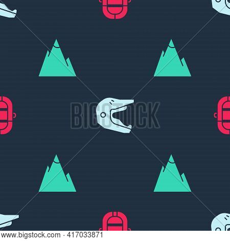Set Rafting Boat, Motocross Motorcycle Helmet And Mountains On Seamless Pattern. Vector
