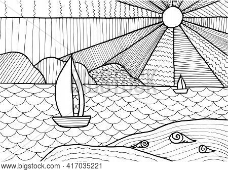 Doodle Fantasy Sea Landscape Coloring Page For Adults. Fantastic Psychedelic Graphic Artwork. Vector