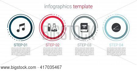 Set Music Note, Tone, Test Tube And Flask, Book And Acute Angle. Business Infographic Template. Vect