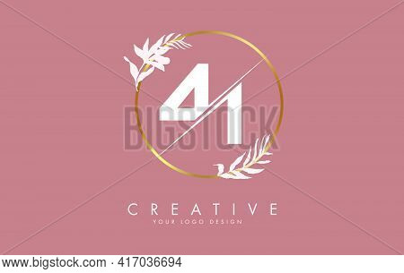 Number41 4 1 Logo Design With Golden Circle And White Leaves On Branches Around. Vector Illustration