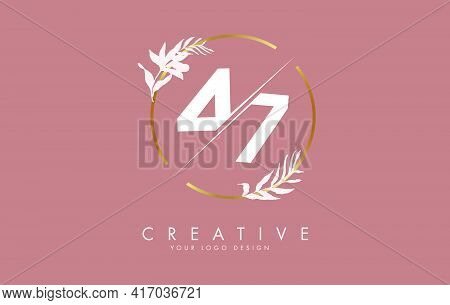 Number 47 4 7 Logo Design With Golden Circle And White Leaves On Branches Around. Vector Illustratio