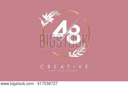 Number 48 4 8 Logo Design With Golden Circle And White Leaves On Branches Around. Vector Illustratio