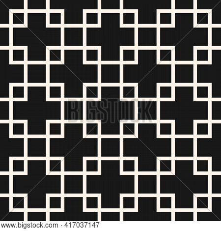 Square Grid Vector Seamless Pattern. Abstract Geometric Monochrome Texture With Lines, Squares, Rhom