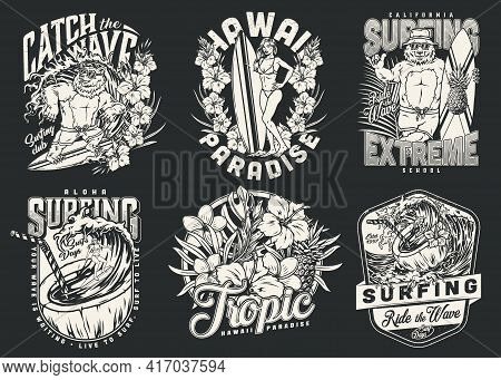 Summer Surfing Vintage Monochrome Logos With Men Pretty Women And Funny Bear Surfers Surfboards Pine
