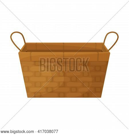 Wicker Basket Vector Icon.cartoon Vector Icon. Isolated On White Background Wicker Basket.