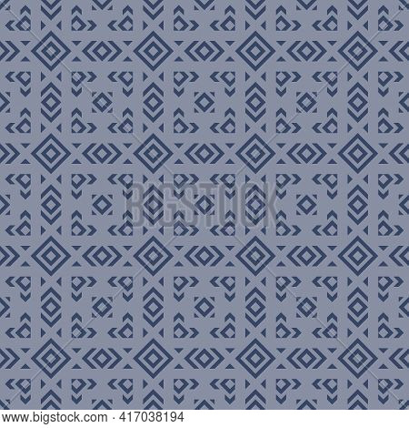 Geometric Ornament Texture. Vector Seamless Pattern With Rhombuses, Diamonds, Squares, Triangles, Gr