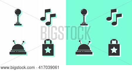 Set Paper Shopping Bag, Joystick For Arcade Machine, Needle Bed And Needles And Music Note, Tone Ico