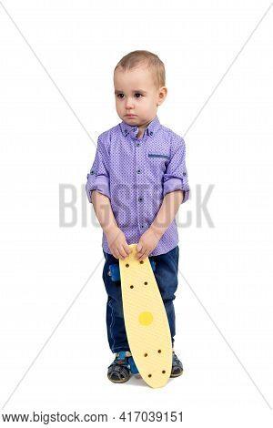 Punished Boy For Hooliganism Child Sad With Skateboard.