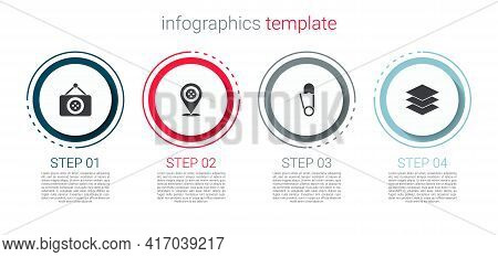 Set Tailor Shop, Location Tailor, Safety Pin And Layers Clothing Textile. Business Infographic Templ