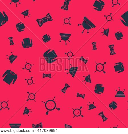 Set Sewing Button And Knitting Needles, Yarn, Sweater And Needle Bed On Seamless Pattern. Vector