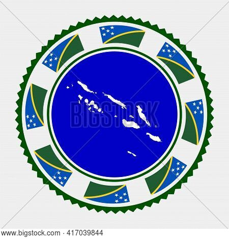 Solomon Islands Flat Stamp. Round Logo With Map And Flag Of Solomon Islands. Vector Illustration.