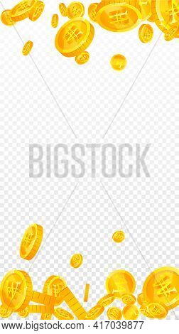 Korean Won Coins Falling. Magnificent Scattered Won Coins. Korea Money. Astonishing Jackpot, Wealth