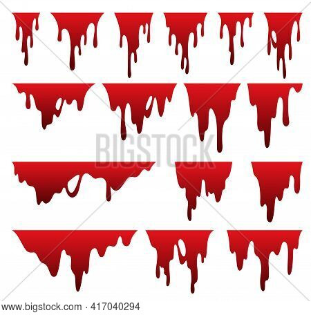 Paint Dripping Liquid. Flowing Oil Stain. Set Of Red Drips. Current Ink Streak, Fluid Smudge. Vector