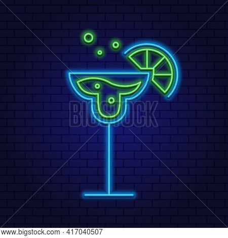 Cocktail Margarita Neon Design Element. Glass Of Cocktail With Lime. Cocktail Bar, Pub. Vector Of Dr