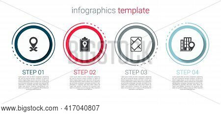 Set Location, Folded Map With Location Marker, Gps Device And House. Business Infographic Template.