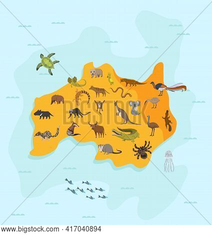 Animal Map Of Australia. Nature Fauna Cartography Concept . Geographical Map With Local Fauna. Conti