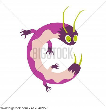 Monster Alphabet Symbol. Letter C Of English Alphabet Shaped As Monster. Children Colorful Cartoon F