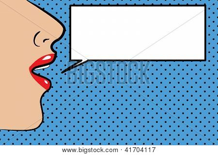 PopArt Illustration of a face with a speech bubble