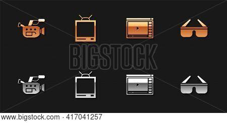 Set Cinema Camera, Retro Tv, Online Play Video And 3d Cinema Glasses Icon. Vector